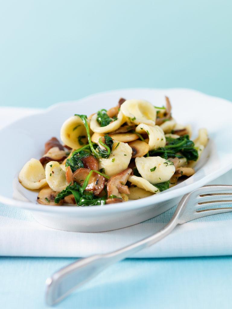 Orecchiette funghi e spinaci